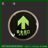 圆形地埋式夜光安全指示标识 自发光钢化玻璃导流地贴