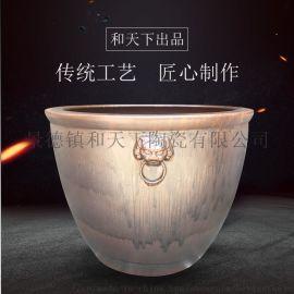景德镇陶瓷手绘手工雕刻大缸养鱼风水缸摆件