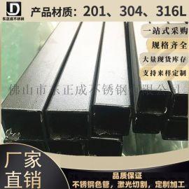 佛山201不锈钢烤漆 方管6米黑细砂烤漆