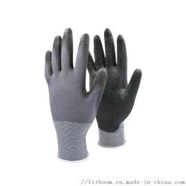 立特邦安全 13针灰色尼龙PU涂掌浸掌防静电手套