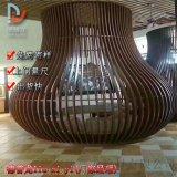 灯笼造型拉弯铝方管造型 艺术造型凹凸铝格栅