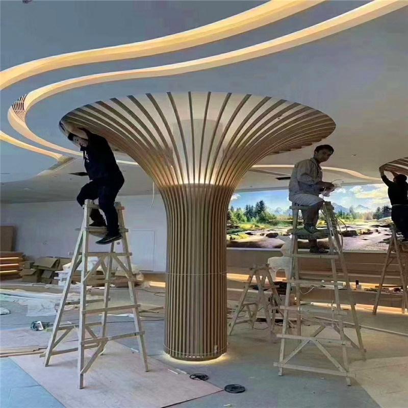 包柱铝单板造型构造 烤漆包柱铝单板色泽纹理