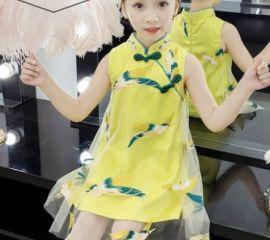 2020**夏装连衣裙复古装儿童旗袍小女孩超仙女裙子唐装夏季