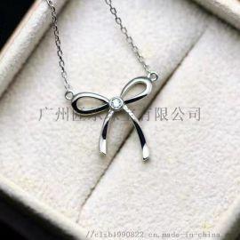 新品925银吊坠镶嵌水晶珍珠托女韩国时尚锁骨链明星同款定做K金925银首饰加工