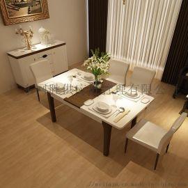 简约餐桌椅组合6人伸缩餐桌圆形钢化玻璃餐桌折叠饭桌