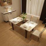 簡約餐桌椅組合6人伸縮餐桌圓形鋼化玻璃餐桌摺疊飯桌