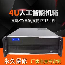 4U机箱拉丝铝面板带LCD温控屏服务器机箱