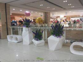 **公共休息区座椅玻璃钢花盆组合休闲椅户外景观坐凳
