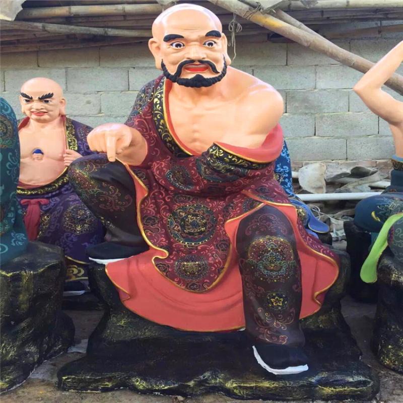 站像十八罗汉 坐像十八罗汉 玻璃钢佛像雕塑厂家