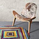 北歐奶牛皮飛機椅陽臺休閒椅咖啡貝殼椅微笑椅