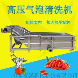 现货销售水果蔬菜清洗机 连续式青椒茄子气泡清洗设备