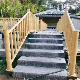 西餐厅门头竹节铝护栏 别墅铝合金护栏仿竹子工艺