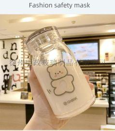 网红可爱熊熊杯卡通水杯学生杯情侣随手杯