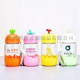 小清新水杯玻璃杯广告杯儿童水杯环保水杯卡通水杯