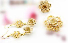 黛雅结婚饰品玫瑰花镀金套装白色 新娘首饰品 厂家批发