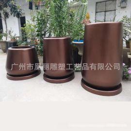 厂家直销玻璃钢古铜色花盆组合 落地式户外圆形花钵
