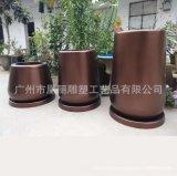 廠家直銷玻璃鋼古銅色花盆組合 落地式戶外圓形花鉢