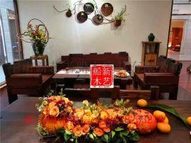 老船木沙发组合客厅沙发茶几实木现代万子阁沙发