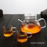 耐热玻璃茶壶 北欧简约短嘴平盖玻璃茶壶 大容量三件式泡茶壶