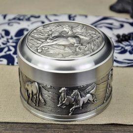 泰国锡器 八骏锡茶罐 材质珍贵 适合爱茶人士