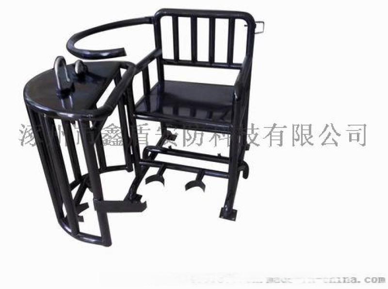 XD1审讯椅厂家 棕黑色板钥匙型铁质审讯桌椅价格