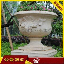 石材花盆种类 砂岩石材花盆 石材花盆雕塑