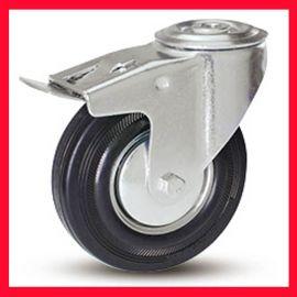 万向刹车钢芯橡胶轮,双制动(防静电)脚轮