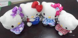 节日礼品赠送 毛绒玩具招财猫 KT猫公仔工厂定做