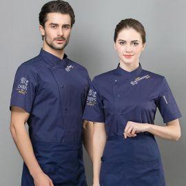 夏季短袖廚師工作服烘焙餐飲酒店餐廳廚師短袖廚衣