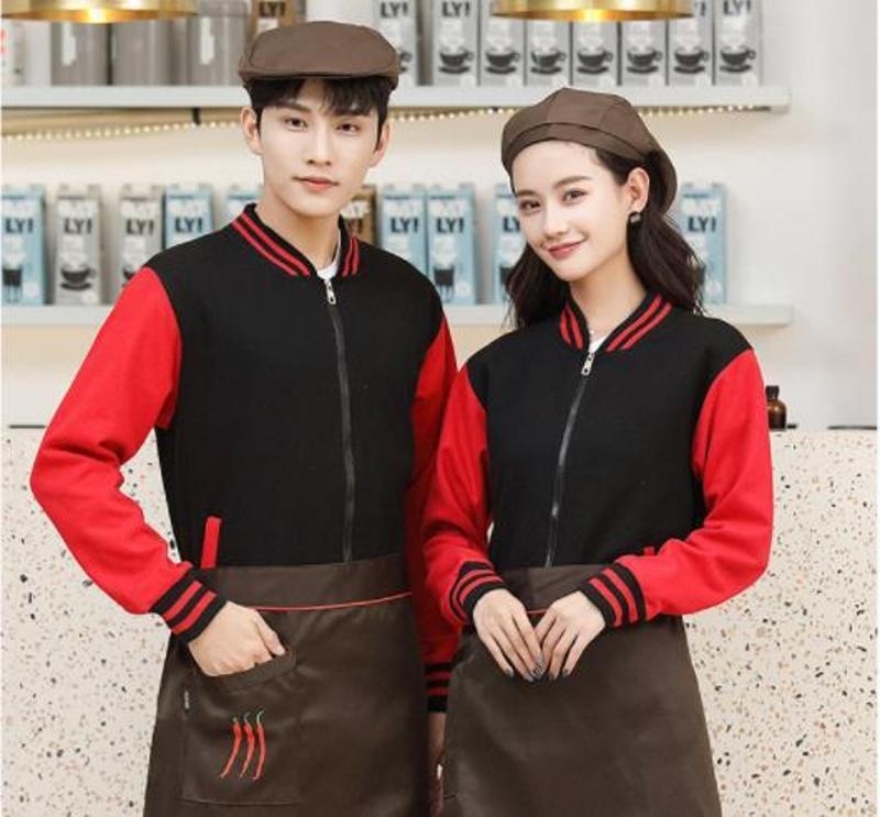 春秋酒店服务员工作服长袖卫衣餐厅饭店超市快餐工装外套定制LOGO