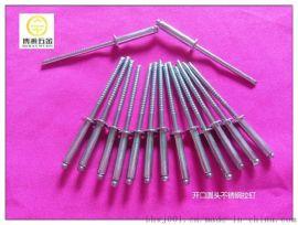 不锈钢抽芯铆钉|开口型扁圆头不锈钢抽芯铆钉GB12618