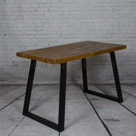 小龙虾餐厅做旧实木餐桌复古工业风餐桌椅定做厂家