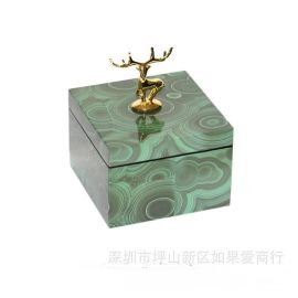 正方形绿色孔雀石金色鹿头首饰盒木质天然结晶石饰品收纳盒摆件