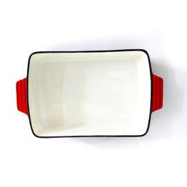 珐琅铸铁烤盘搪瓷烤鱼盘煎锅汤锅平底锅加厚出口