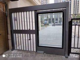 洛阳小区防盗刷卡广告门,灯箱平移门黑浮花烤漆