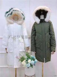 广州尾货市场长款带动物毛领CK羽绒服品牌折扣女装尾货