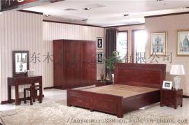 送装入户 木言木语中式实木床 黄柏木双人床简约婚床