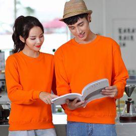 厂家定制全棉薄款情侣装圆领卫衣可印图印字广告衫班服印图LOGO