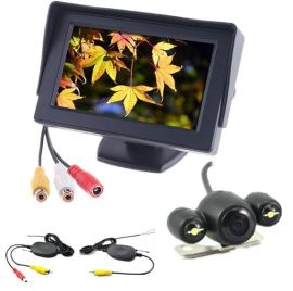 无线青蛙眼倒车摄像头汽车后视摄像头可视摄像头4.3寸车载显示器