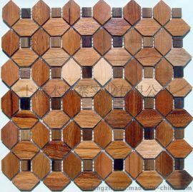 木风寨实木马赛克MFZ-A014背景墙 黑胡桃/缅茄木 墙贴