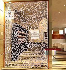 镂空雕花会所KTV背景装饰定制 黑钛金不锈钢屏风
