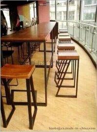 户外休闲成套餐桌椅 美式乡村复古高脚咖啡椅 铁艺实木单人吧台椅