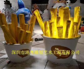 美食广场仿真薯条雕塑可透光薯条模型装饰