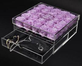 亚克力玫瑰花盒 温馨浪漫情人节玫瑰鲜花礼品包装盒订做