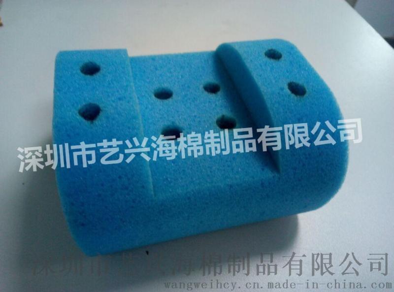 蓝色切口异形磨砂海绵 清洁海绵生产厂家