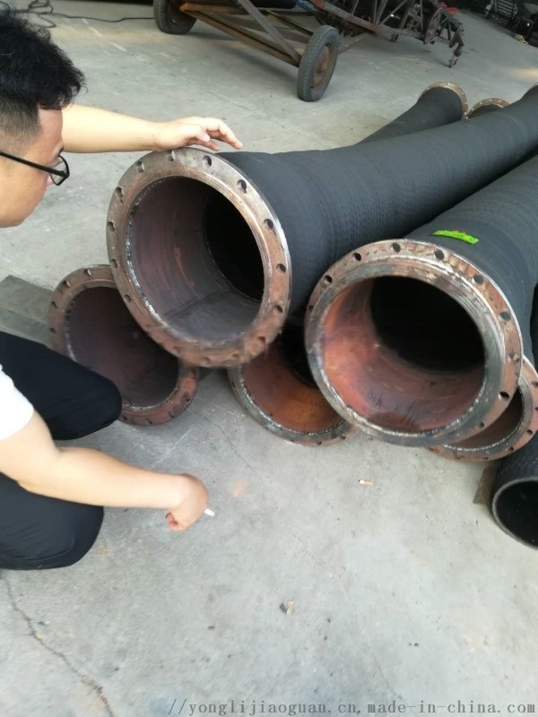 大口径法兰式橡胶钢丝管DN300黑橡胶钢丝管