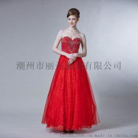 丽天欧美晚礼服,主持人礼服,时尚钉珠晚礼服