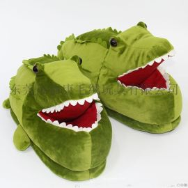 厂家来图定制创意儿童毛绒玩具公仔鳄鱼拖鞋