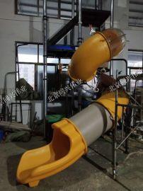 商场消防逃生不锈钢滑梯幼儿园救生消防滑梯游乐设备