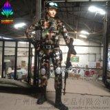 女士兵模擬玻璃鋼人物雕塑擺件創意影視道具廣州玻璃鋼雕塑廠現貨